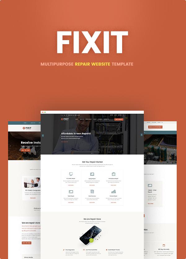 電話、コンピューター修理店レスポンシブWordPressテーマ-Fixit